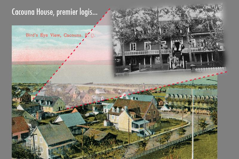 <p>Centre du village vu du clocher de l&rsquo;&eacute;glise Saint-Georges avec l&rsquo;h&ocirc;tel Cacouna House, sur la gauche, 1929, et fa&ccedil;ade de l&rsquo;h&ocirc;tel dans la premi&egrave;re moiti&eacute; du XXe si&egrave;cle.<br /><br />La famille Nelligan louait dans les ann&eacute;es 1880 un logis &agrave; l&rsquo;h&ocirc;tel Cacouna House.&nbsp; C&rsquo;&eacute;tait une auberge accueillante avec un rez-de-chauss&eacute;e, deux &eacute;tages, une cl&ocirc;ture et un perron, situ&eacute;e au c&oelig;ur du village, pas loin de la rue de l&rsquo;&Eacute;glise et presqu&rsquo;en face de l&rsquo;h&ocirc;tel Mansion House (aujourd&rsquo;hui Place Saint-Georges), non loin du magasin g&eacute;n&eacute;ral de Joseph Sirois.&nbsp; La famille Nelligan occupait un logement au premier &eacute;tage.<br /><br />Source photo :<br />Cartes postales &laquo;Rivard Series&raquo;, &eacute;diteur et Ramsey &amp; Co., &eacute;diteur, coll. Richard Michaud<br />&nbsp;</p>