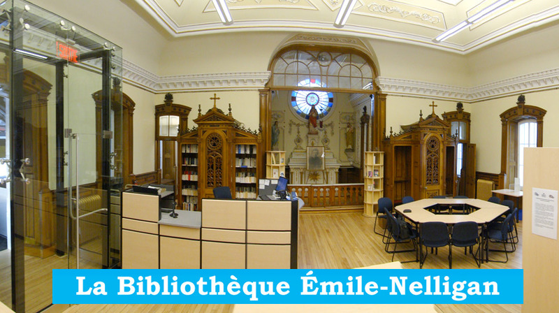 <p>Inside the sacristy of the Church of Saint-Georges, converted into the &Eacute;mile-Nelligan library in 2015.<br /><br />The library has a section featuring books and objects related to Nelligan&rsquo;s life in Cacouna. There are several works by biographer Paul Wyczynski, including &quot;Nelligan &agrave; Cacouna&quot; (2004), a book co-authored with local historian Yvan Roy, recounting the events that led to the resurgence of interest in Nelligan here in Cacouna.<br /><br />Photo source :<br />Yvan Roy, February 2015<br />&nbsp;</p>