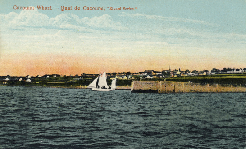 <p>A view of Cacouna, small coastal village, from the open sea. Early 1900.<br /><br />&laquo;Or voici que verdoie un hameau sur les c&ocirc;tes&raquo;.<br />A pastoral landscape, filled with memories of youthful joy.<br /><br />The last two lines of the poem &ldquo;Petit Hameau&rdquo; attest to this nostalgia tinged with sadness:<br />&laquo;Je vous b&eacute;nis. Que la joie habite &agrave; vos portes<br />En campagne, &ocirc; ces soirs de primes feuilles mortes!&raquo; &raquo;<br />(Paul Wyczynski, in Nelligan &agrave; Cacouna, p.66)<br /><br />Photo source :<br />Postcard &ldquo;Rivard Series&rsquo;&rsquo;, &eacute;diteur, Richard Michaud Collection<br />&nbsp;</p>