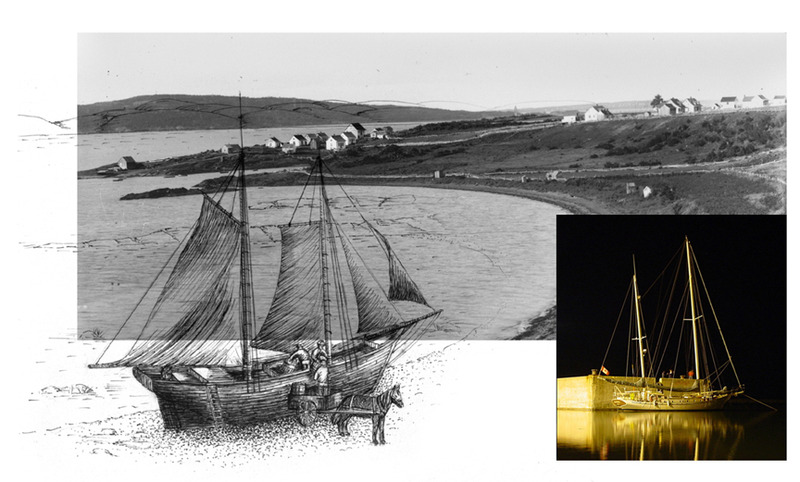 <p>The Anse Fontaine Claire, where schooner captains and carters did business.<br /><br />The 20th century ketch &ldquo;Meriah&rdquo; at the Port of Gros-Cacouna, gilded by the midnight moon, waiting for its next journey to unknown seas...<br /><br />The natural harbor of Fontaine Claire, where the local wharf was built during Nelligan&rsquo;s time (1890-1900). Schooners and freight haulers had already been meeting up in the harbor for several decades, unloading goods for the town&rsquo;s general stores.<br />The young poet particularly enjoyed the harbor, perhaps because it offered his soul a gateway to faraway places.<br /><br />Photo source :<br />With a background of Ernest Mercier&rsquo;s photo of the Anse Fontaine Claire, an illustration of a schooner unloading goods, by Lynda Dionne, 2011<br />Photo by Yvan Roy of the sailing ship &ldquo;Meriah&rsquo;&rsquo; (Larry and Nicky Peck, owners), moored to the Gros-Cacouna seaport, 2002</p>