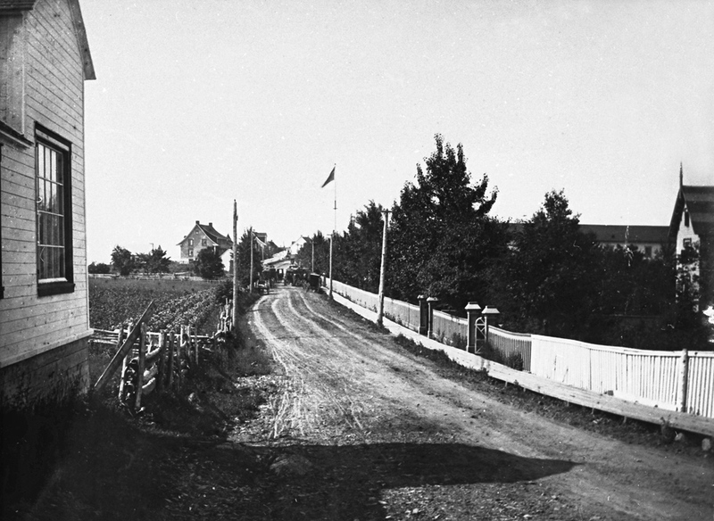 <p>Former main road and boardwalk, east of Saint Lawrence Hall.<br /><br />At other times, Nelligan loved to stroll the village boardwalks, occasionally detouring around the farms, houses and villas to observe people going about their daily lives, engaged in various tasks, gardening or perhaps playing croquet or tennis.<br /><br />Photo source :<br />Marcelle Savard<br />&nbsp;</p>