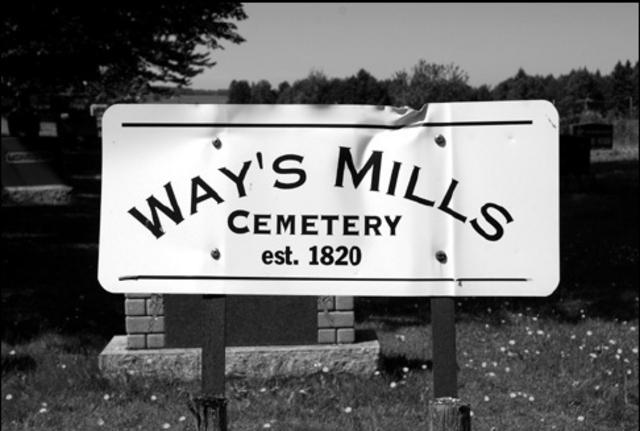 <p>Daniel Way repose depuis 1875 au Way&rsquo;s Mills Cemetery sur le chemin Jordan et des descendants contribuent &agrave; l&rsquo;entretien de ce lieu riche de l&rsquo;histoire des pionniers et pionni&egrave;res qui ont ont pos&eacute; les premi&egrave;res pierres de ce hameau bucolique.</p>