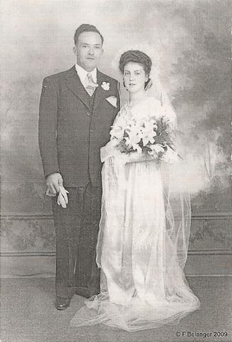 <p>Marie-Marthe Paquin &eacute;pouse F&eacute;licien Cr&ecirc;te le 2 juin 1945 &agrave; l&rsquo;&eacute;glise Saint-Marc de Coaticook.</p>