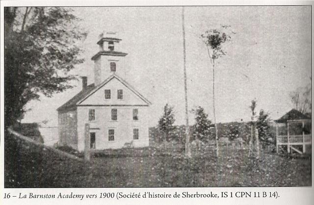 <p>Nathaniel Jenks s&rsquo;engage en compagnie du pasteur baptiste Green dans la construction de la premi&egrave;re Acad&eacute;mie du canton de Barnston en 1851, au co&ucirc;t de 1200$.</p>