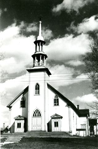 <p>The land for the first Catholic church was purchased in 1853. The construction of the church was completed in 1855. The church was destroyed in the mid-1950s.</p>