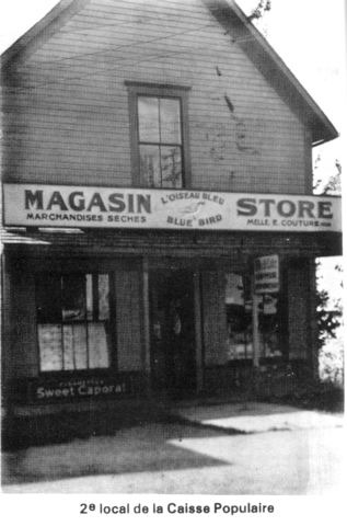 <p>The Credit Union (caisse populaire) started life in the Genest home on chemin Cochrane. In 1952, it was moved to a house close by the Joseph-Edward Savary store on Main Street (see photo). Estelle Bureau was chairperson of the Board of Directors for many years. In the 1970&#39;s, the Credit Union was moved to its present location.</p>
