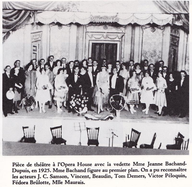 <p>Une troupe de th&eacute;&acirc;tre dans laquelle Jeanne Bachand a jou&eacute; dans les ann&eacute;es 1920. Elle a &eacute;t&eacute; la vedette dans une multitude de productions.</p>
