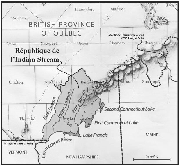 La République de l'Indian Stream se situait à l'est des municipalités de East Hereford et de Saint-Venant de Paquette.Elle fait maintenant partie du New Hampshire.