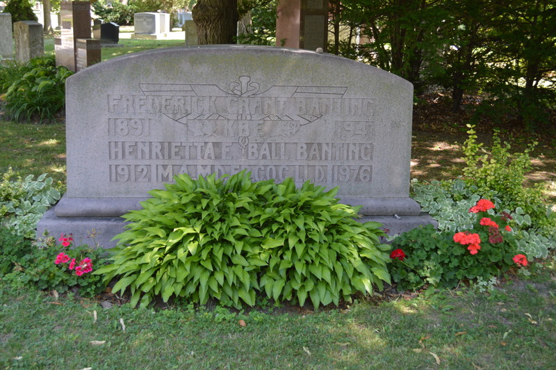 Lady Banting and her husband are buried next to each other, in Toronto.