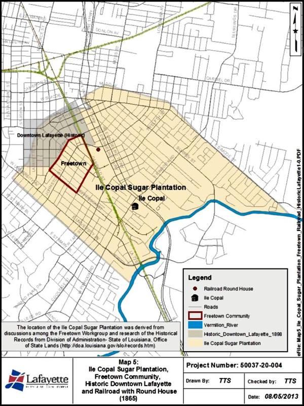 <p>Voici une carte g&eacute;ographique du centre-ville de Lafayette et du quartier de Freetown comme partie de la plantation et l&#39;habitation &Icirc;le Copal en 1865.</p>