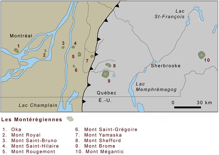 <p>Les Mont&eacute;r&eacute;giennes<br />Belv&eacute;d&egrave;re d&rsquo;interpr&eacute;tation de la promenade riveraine<br /><br />Des rives du bassin de Chambly, on aper&ccedil;oit trois des dix collines mont&eacute;r&eacute;giennes. Ce sont des roches intrusives, vieilles de 115 &agrave; 140 millions d&rsquo;ann&eacute;es, mises en place au moment o&ugrave; la formation g&eacute;ologique de la vall&eacute;e du Saint-Laurent s&rsquo;ach&egrave;ve. Ces masses bois&eacute;es constituent une particularit&eacute; de la vall&eacute;e du Richelieu, un patrimoine unique d&rsquo;une exceptionnelle qualit&eacute;.</p>