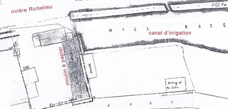 <p>Le moulin &agrave; papier de Louis Perrault<br />22, rue De Richelieu<br /><br />&Agrave; l&rsquo;extr&eacute;mit&eacute; sud du garage adoss&eacute; &agrave; la maison du major Walker, on retrouve les ruines d&rsquo;un muret de pierre qui se prolonge vers le Richelieu. Ce sont les restes d&rsquo;une papeterie ancienne. Le Patriote montr&eacute;alais, Louis Perrault, libraire et imprimeur, y avait install&eacute; un moulin &agrave; papier en 1842.</p>