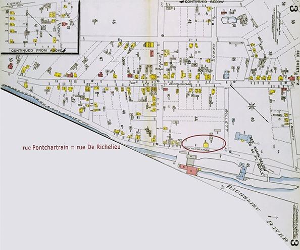 <p>Les six r&eacute;sidences, lieu de l&rsquo;usine de coton<br />Du 39 au 49, rue De Richelieu<br /><br />Les adresses du 39 au 49 de la rue De Richelieu correspondent au lieu de la premi&egrave;re manufacture de coton au Canada, construite en 1841. La &laquo;tisserie&raquo; de coton puisait son &eacute;nergie motrice dans les rapides de la rivi&egrave;re.</p>