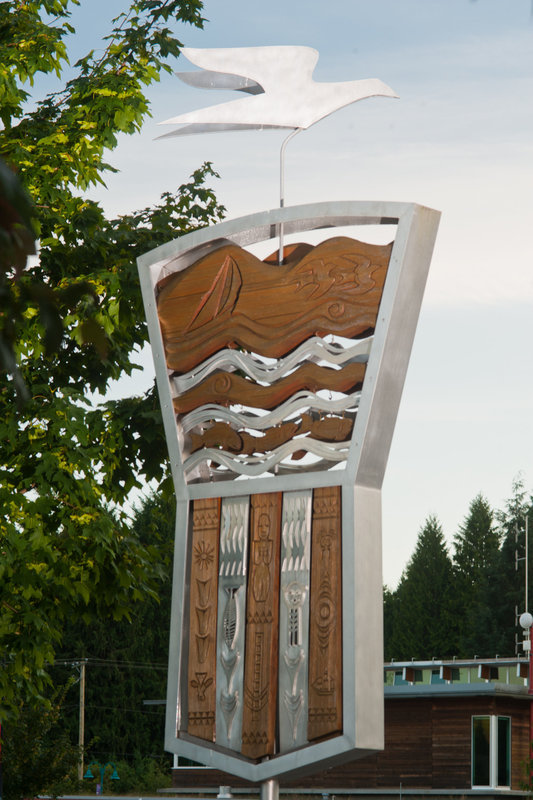 <p>LOCATION: Municipal Hall Sculpture Garden, Rosina Giles Way<br />SCULPTURE: <em>Time in its Flight</em>, 2009<br />ARTISTS: Anna Hanson (with Lex Hanson)<br />MEDIUM: Cedar and aluminum</p>