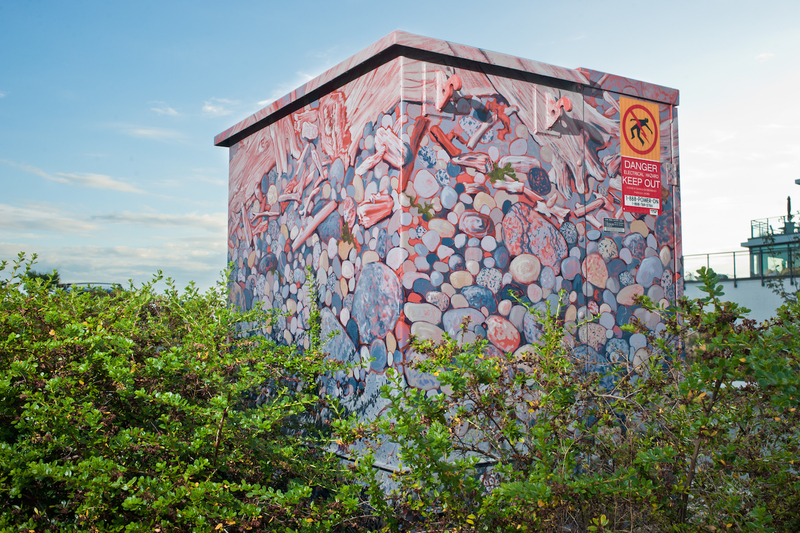 <p><em>Seastone &ndash; Low Tide</em> is one of the largest in the utility box series and is located near the sea wall in Sechelt. It depicts the smooth colourful stones that can be found on our waterfront, and bits of driftwood and logs that have washed on shore. At the bottom of the painting you can see the locally abundant purple and orange sea stars clinging to the rocks.</p>