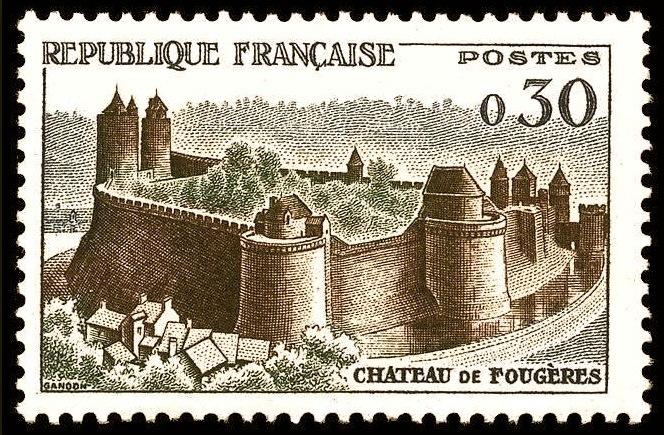 <p>El castillo en los sellos de correos. Esta Fortaleza es una de las fortificaciones de la Edad Media mejor conservadas de Breta&ntilde;a.&nbsp;</p>