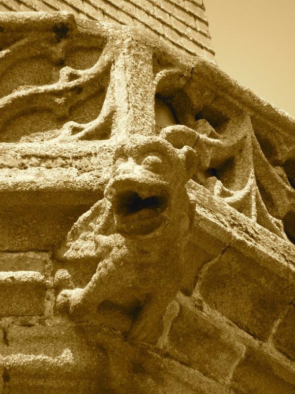 <p>Estas g&aacute;rgolas sirven para evacuar el agua de lluvia de los tejados. Adem&aacute;s de ser canalones tambi&eacute;n son obras art&iacute;sticas. Representan generalmente dragones, una tradici&oacute;n de estilo g&oacute;tico com&uacute;n durante la Edad Media (sin embargo las primeras g&aacute;rgolas aparecieron con anterioridad, en la antig&uuml;edad).<br /><br />Detr&aacute;s de esta g&aacute;rgola, las campanas de la torre de Foug&egrave;res marcan el ritmo de la ciudad con su sonido desde hace m&aacute;s de seiscientos a&ntilde;os</p>