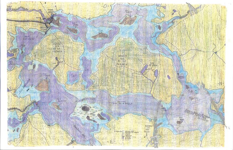 <p>Cette carte a &eacute;t&eacute; dessin&eacute;e de m&eacute;moire par Marcel Daviault de Sainte-V&eacute;ronique (Rivi&egrave;re-Rouge). Les zones en mauve repr&eacute;sentent les lacs existants avant la construction du barrage, les zones en jaune montrent les terres qui n&#39;ont pas &eacute;t&eacute; inond&eacute;es (les &icirc;les actuelles).</p>