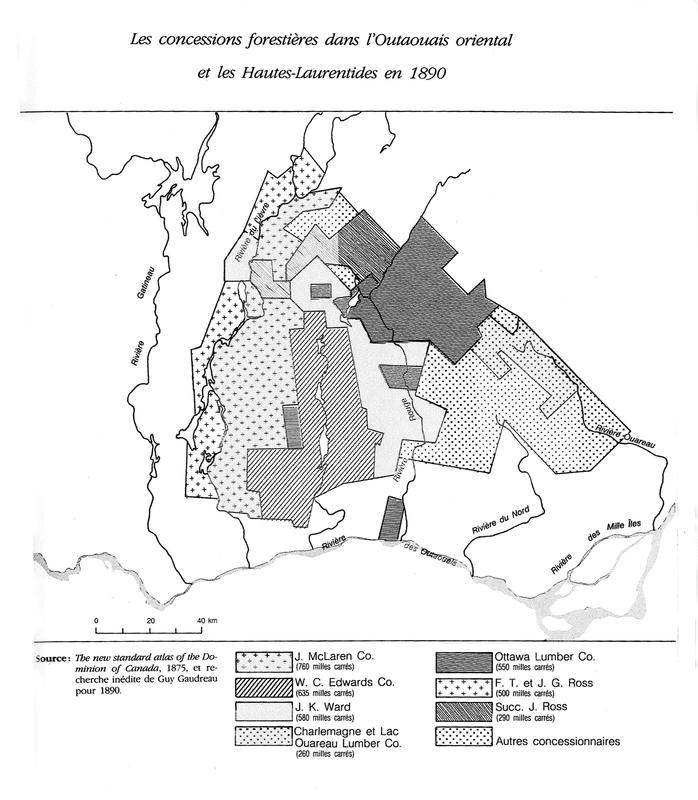 <p>Carte des concessions de la Maclaren en 1890, tir&eacute;e de : Histoire des Laurentides, Serge Laurin</p>