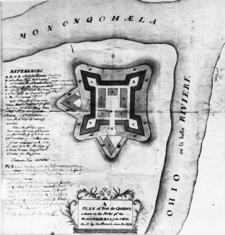 <p>Voici le plan original du Fort Duquesne, devenu Fort Pitt, situ&eacute; au croisement des rivi&egrave;res Allegheny et Monongahela, cette derni&egrave;re souvent traduite &agrave; l&rsquo;&eacute;poque comme &eacute;tant la rivi&egrave;re &laquo; mal engueul&eacute;e &raquo;. Ces 2 rivi&egrave;res donnent naissance &agrave; la rivi&egrave;re Ohio.</p>