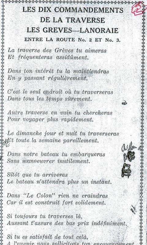 <p>Les 10 commandements du bateau passeur Le Colon, qui faisait la navette entre Lanoraie et Les Gr&egrave;ves.</p>