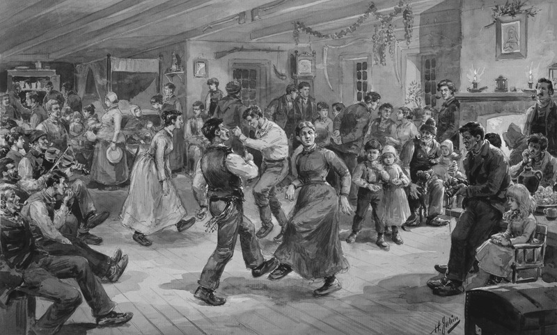 <p>L&rsquo;&oelig;uvre &laquo; Le&nbsp;Rigodon chez Batissette Aug&eacute;&nbsp;&raquo;, telle qu&rsquo;illustr&eacute;e par Henri Julien en 1892.<br /><br />Cr&eacute;dit : Mus&eacute;e national des beaux-arts du Qu&eacute;bec</p>