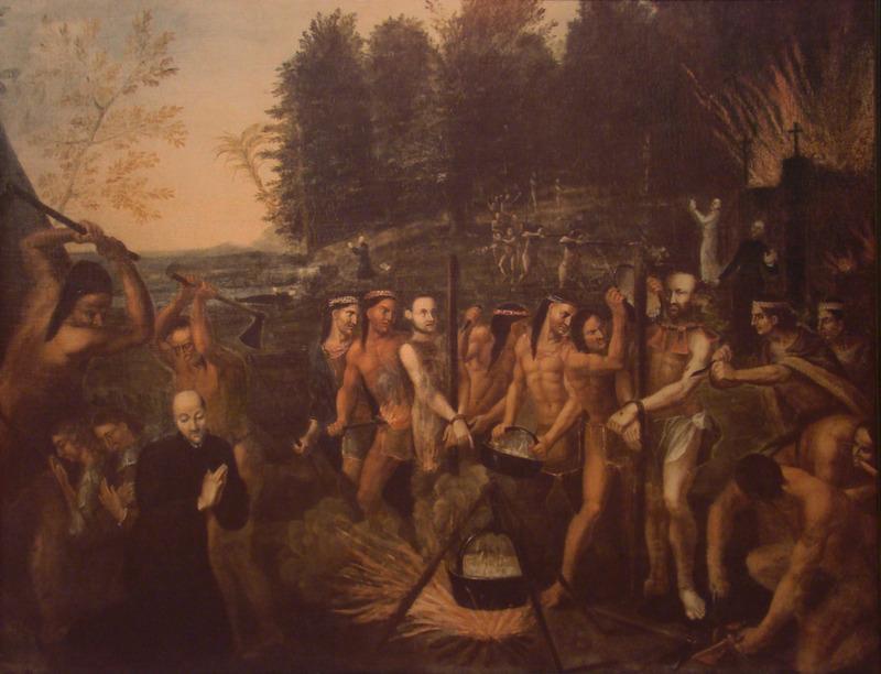 <p>Le portrait des saints martyrs canadiens, avec Anne de No&uuml;e agenouill&eacute; au bord de la rive.</p>