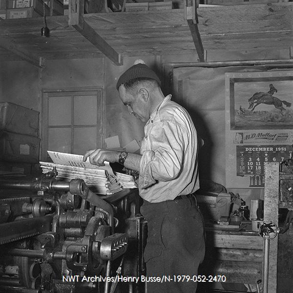 <p>Int&eacute;rieur de l&#39;&eacute;difice abritant le journal News of the North.<br /><br />Sources:<br />Photo pr&eacute;c&eacute;dente: NWT Archives/Henri Busse/N-1979-052-4734.<br />Photo actuelle: NWT Archives/Henri Busse/N-1979-052-2470.</p>