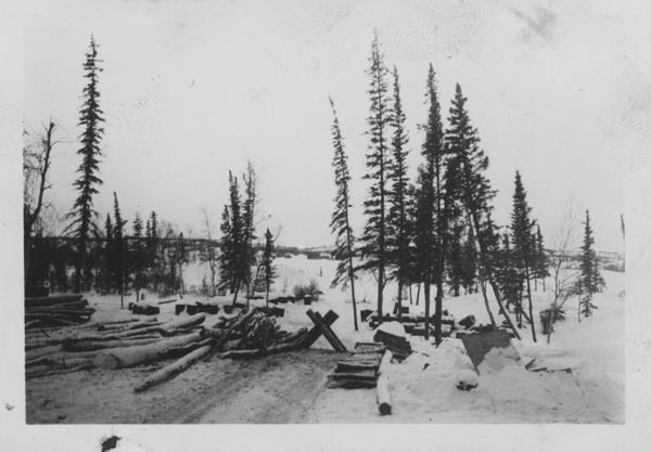 <p>Here, from Yellowknife&#39;s earliest days, wood cutting and fishing activities took place. Logs were turned into firelighters and planks.<br /><br />Photo source: NWT Archives Sam Otto Fonds/N-2002-002-0431.</p>