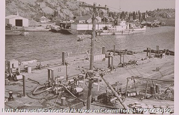 <p>The government dock, an essential part of Yellowknife&#39;s historical development.<br /><br />Sources<br />Previous picture: NWT Archives Henry Busse Fonds/N-1972-052-4454.<br />Current picture: NWT Archives/ Edmonton Air Museum Committee Collection/N-1979-003-0129.</p>