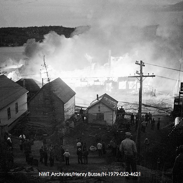 <p>Yellowknife Hotel fire in 1949.<br /><br />Photo source: NWT Archives/Henry Busse/N-1979-052-4621.</p>