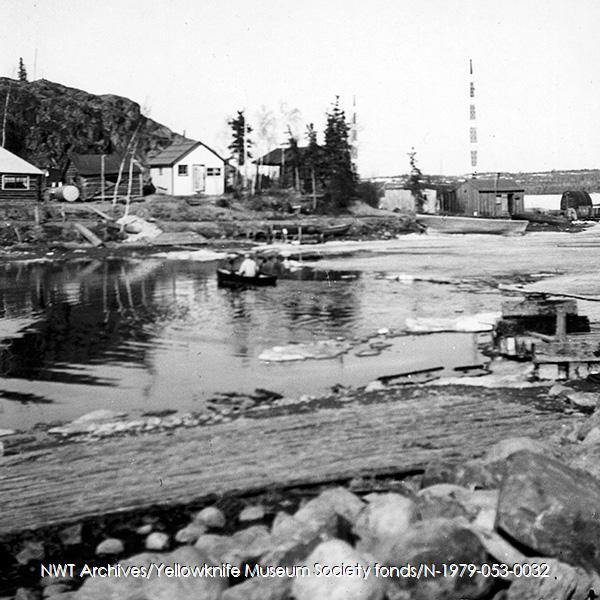 <p>The water taxi in service...<br /><br />Photo source: NWT Archives/Yellowknife Museum Society fonds/N-1979-053-0032.</p>